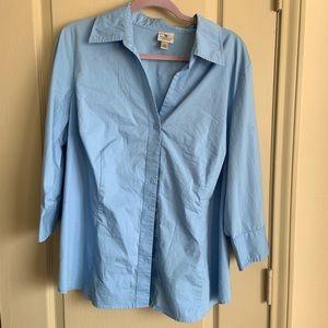 Stretch blue button down shirt